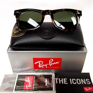 NWT Ray Ban Wayfarer Polarized Tortoise Sunglasses
